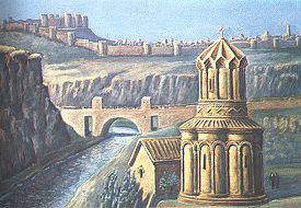 1850s painting of (reconstructed) bridge over Akhurian River with walls and citadel of Ani in the background.  Click for more.  (VirtualANI)