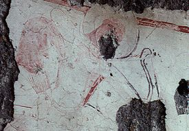 Fresco of mounted archer in tomb of Tigran Honents in Ani.  Click for more on caves below the city.  (VirtualANI)
