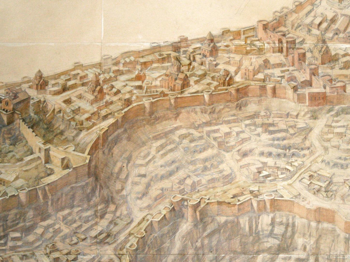 bff0a10d0f Armenian Architecture - VirtualANI - A Drawing Depicting a Reconstruction  of Ani