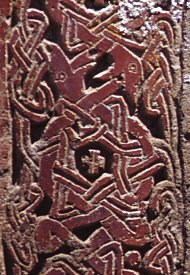 "Interweave of snakes biting each others' tails on khatchkar (""cross stone"") at Por, 7 km northeast of Bitlis.  Click for more.  (VirtualANI)"